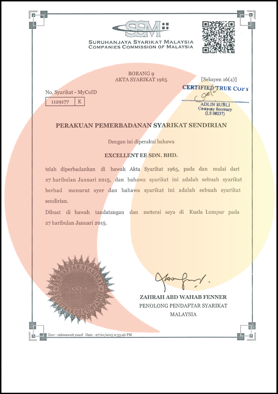 Excellent Ee Sdn Bhd Registration Certification